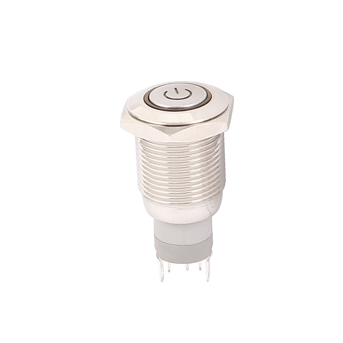 DC12V Red LED Angel Eye Power Indicator SPDT 1NO 1NC 5P 16mm Thread Latching Metal Push Button Switch