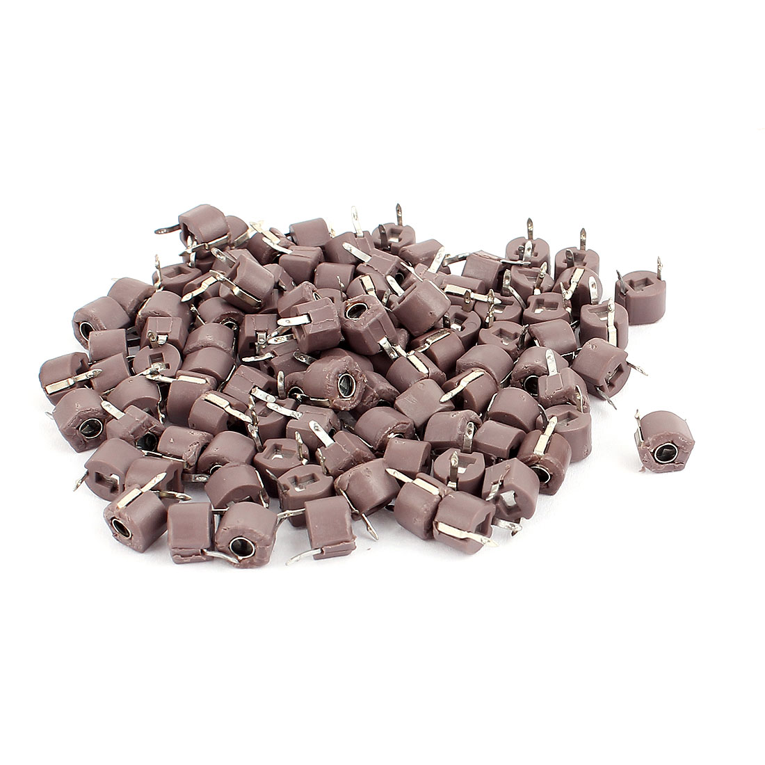 100Pcs Brown Housing 6mm Diameter 120pF Top Adjustable Trimmer Capacitors