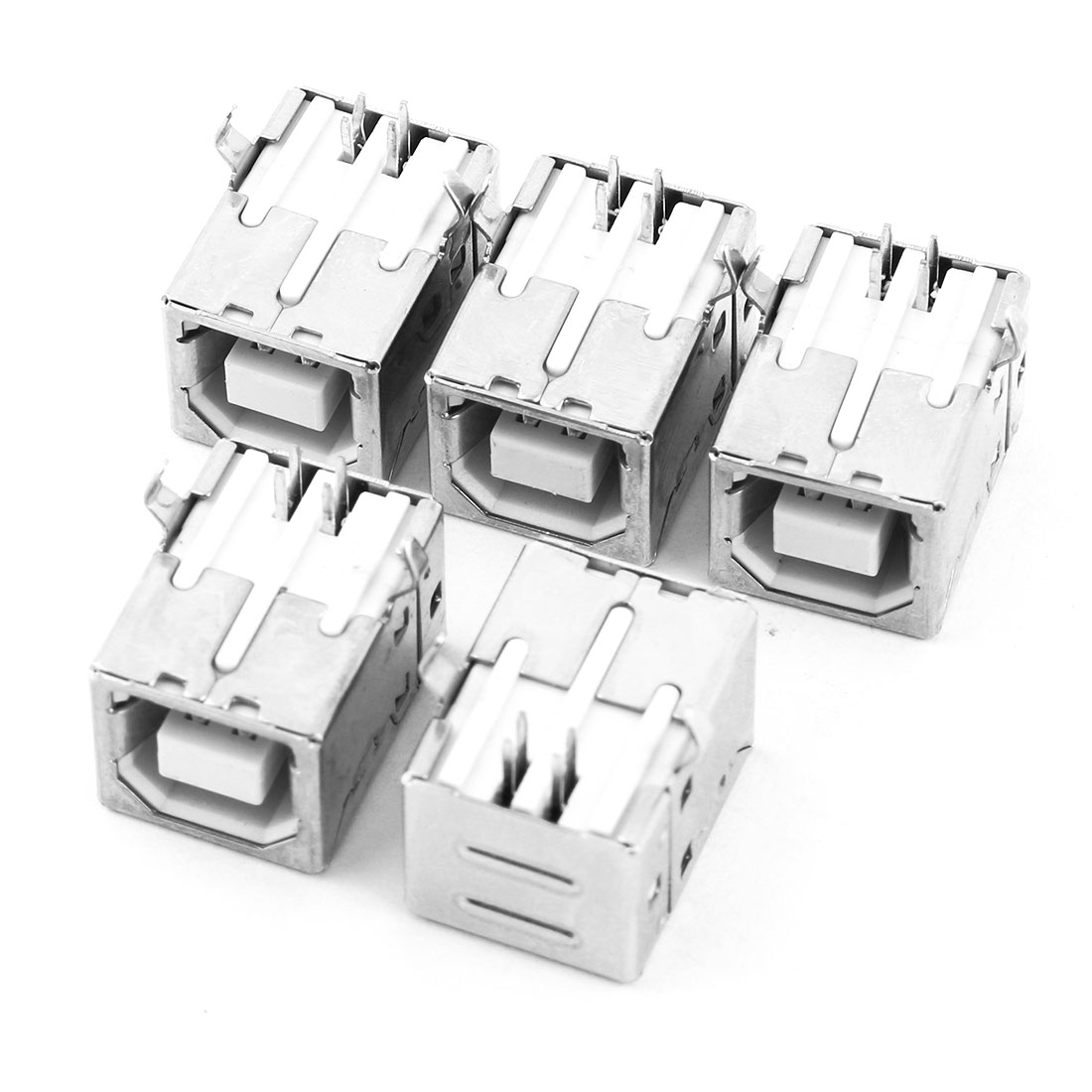 USB 2.0 Female Type-B Port 4-Pin 90 Degree PCB DIP Jack Socket Connector Silver Tone 5pcs