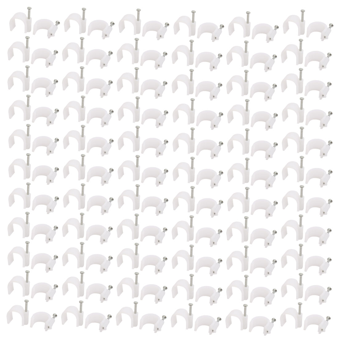 14mm Diameter Round Cable Wire Clips Fastener White w Fixing Nails 200Pcs