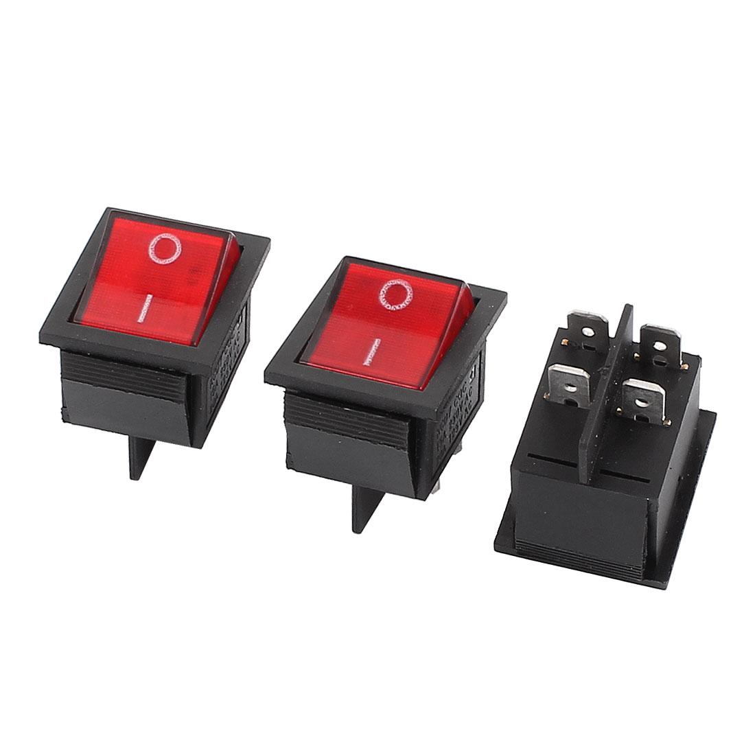 3 Pcs Red LED DPST ON-OFF 4P Snap Rocker Boat Switch KCD7 AC 220V/15A 125V/20A