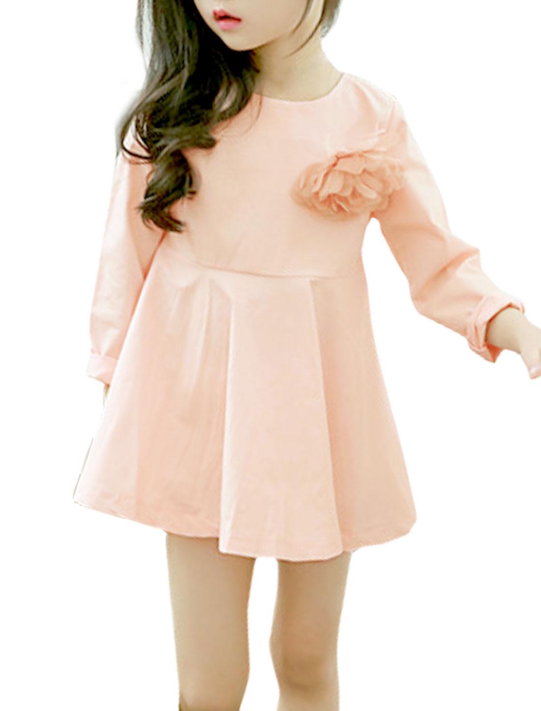 Girl Round Neck A Line Dress w Floral Brooch Pink 5