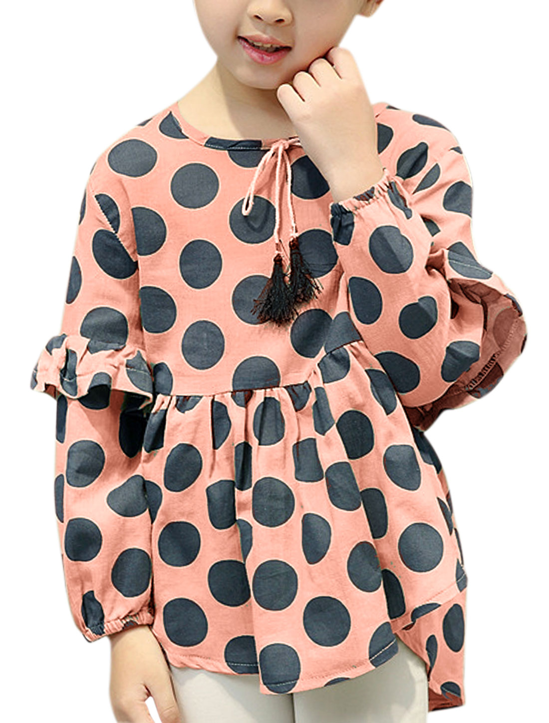 Girls Layered Sleeves Polka Dots Pleated Tunic Blouse Pink 12