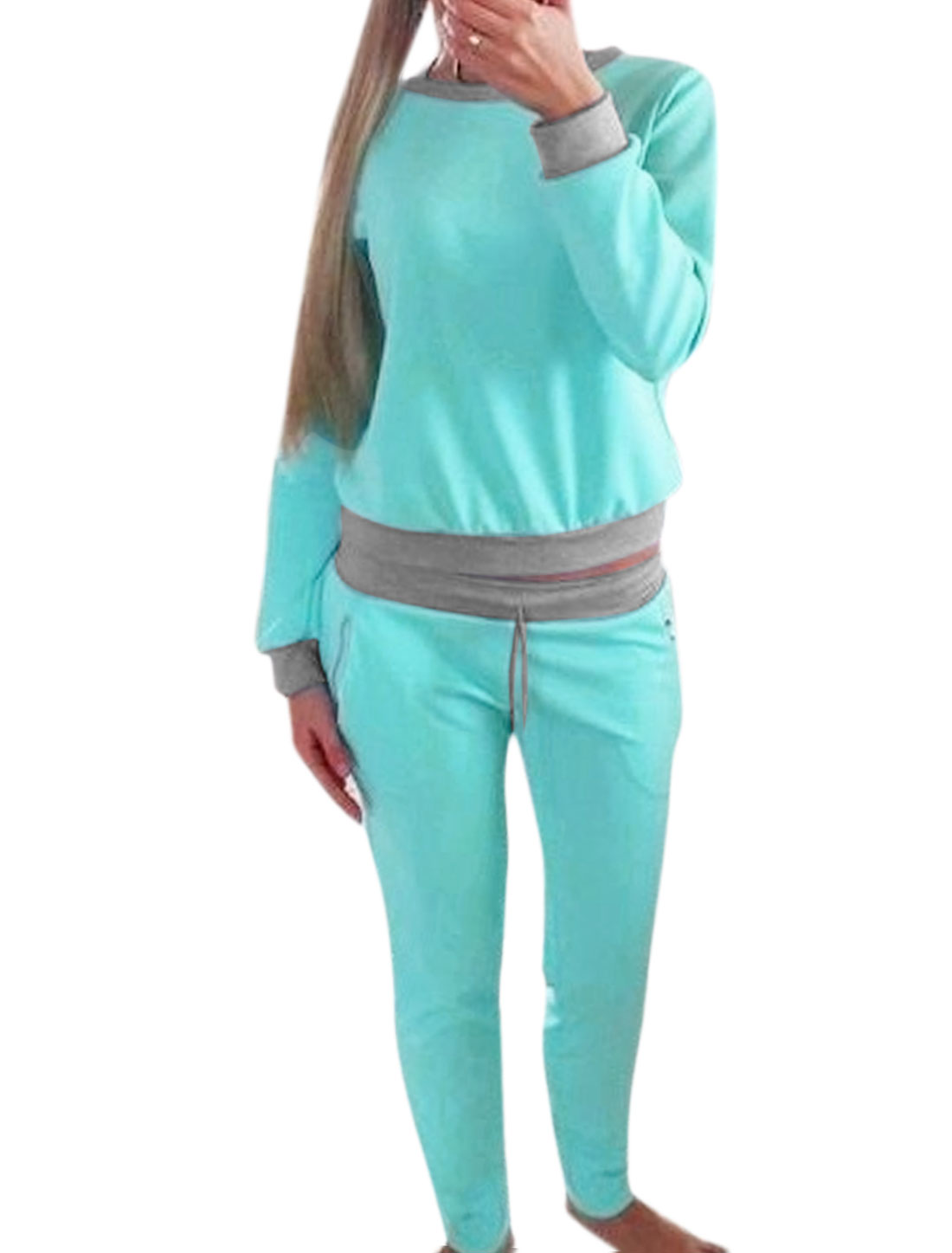 Women Crew Neck Bow Back Top w Drawstring Sweatpants Sets Green S