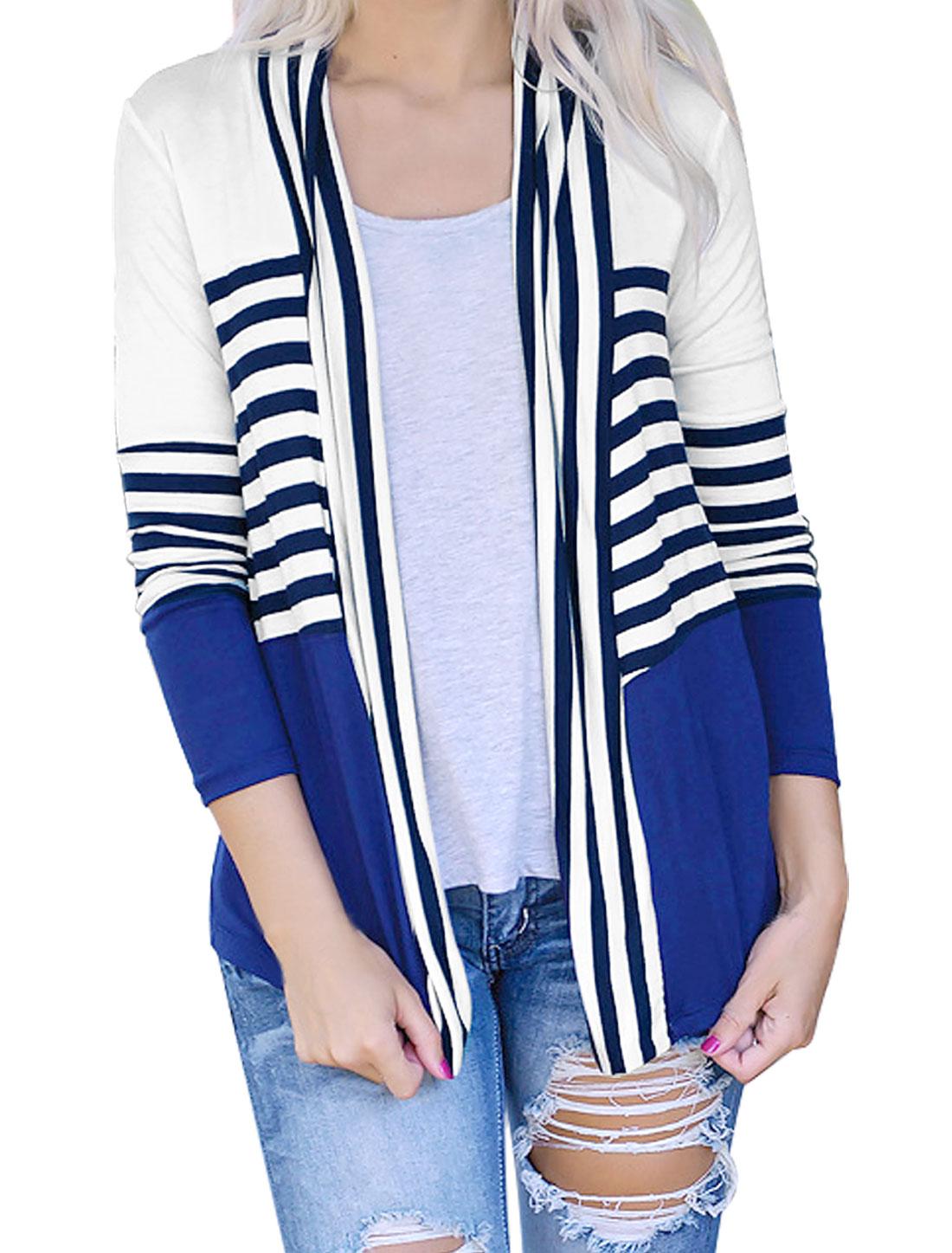 Women Stripes Open Front Contrast Color Cardigan Blue M