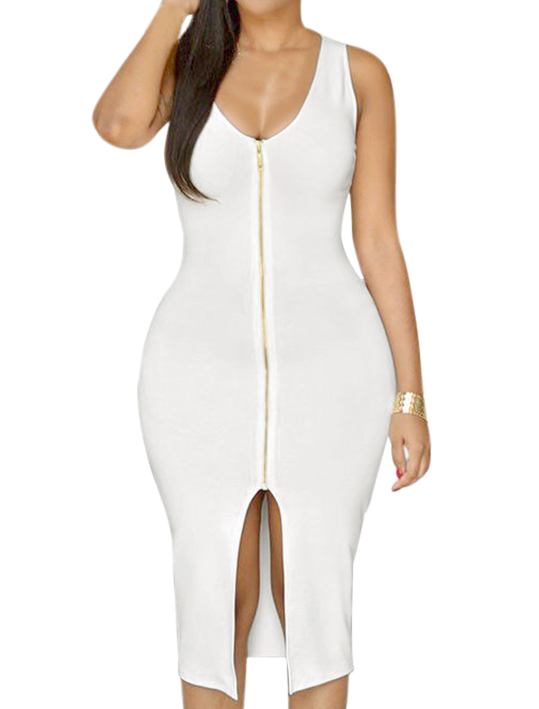 Lady Sleeveless Scoop Neck Exposed Zipper Split Front Bodycon Dress White L