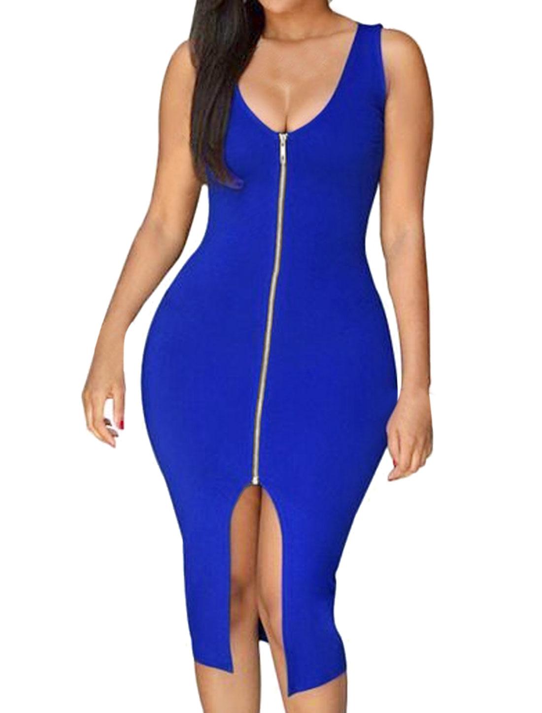 Lady Sleeveless Scoop Neck Exposed Zipper Split Front Bodycon Dress Blue L