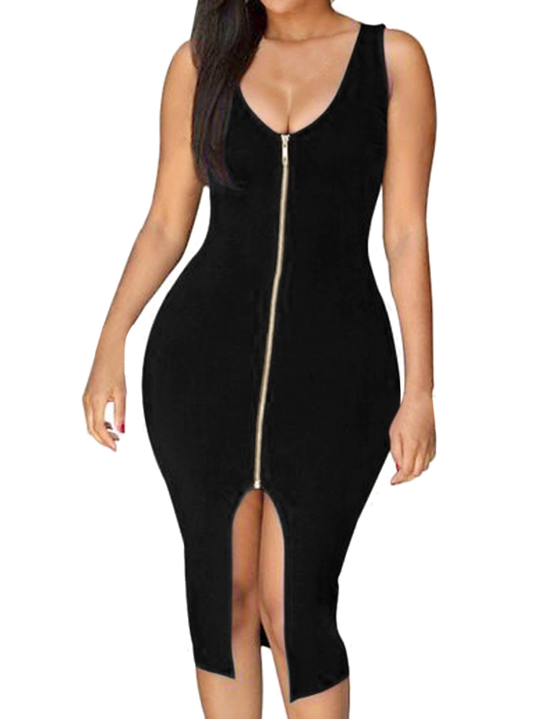 Lady Sleeveless Scoop Neck Exposed Zipper Split Front Bodycon Dress Black L
