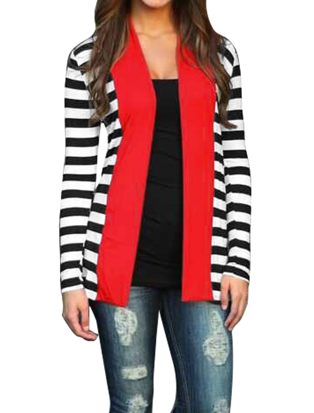 Women Shawl Collar Paneled Stripes Tunic Cardigan Red M