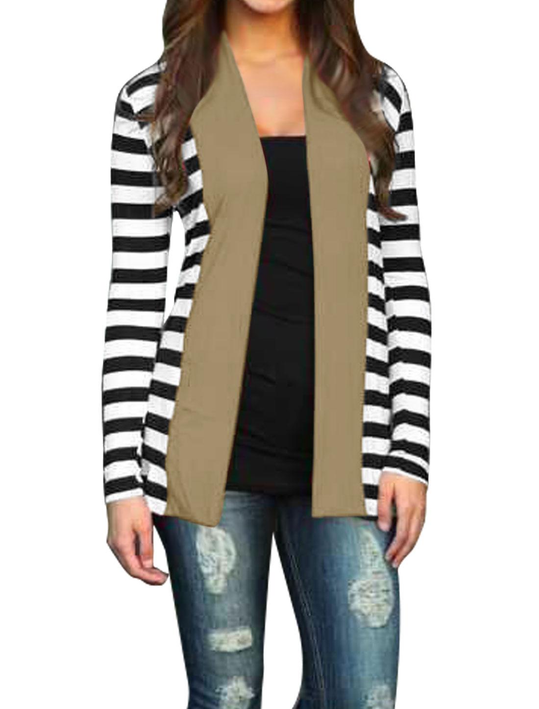 Women Shawl Collar Paneled Stripes Tunic Cardigan Beige M