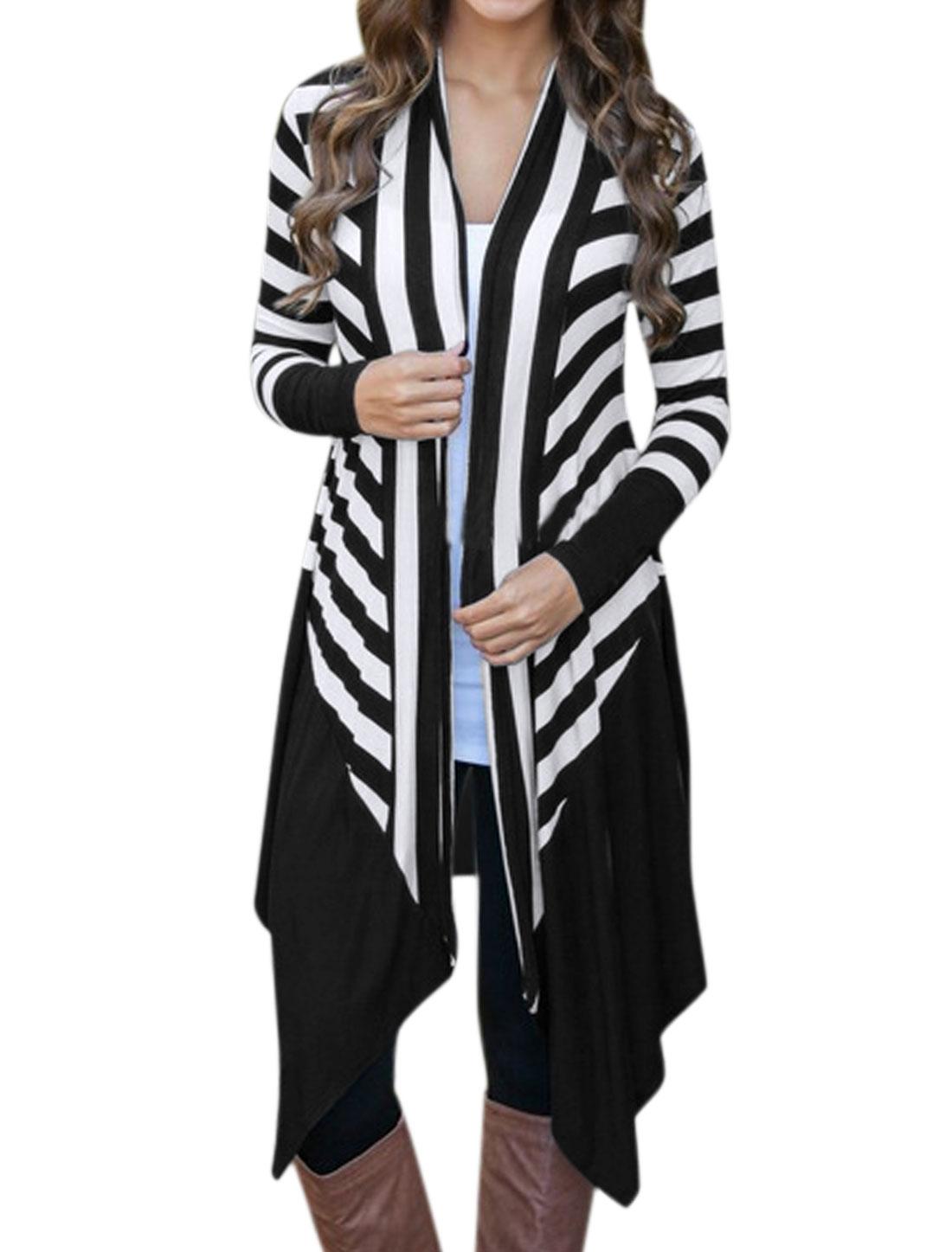 Women Buttonless Draped Front Paneled Stripes Tunic Cardigan Black M