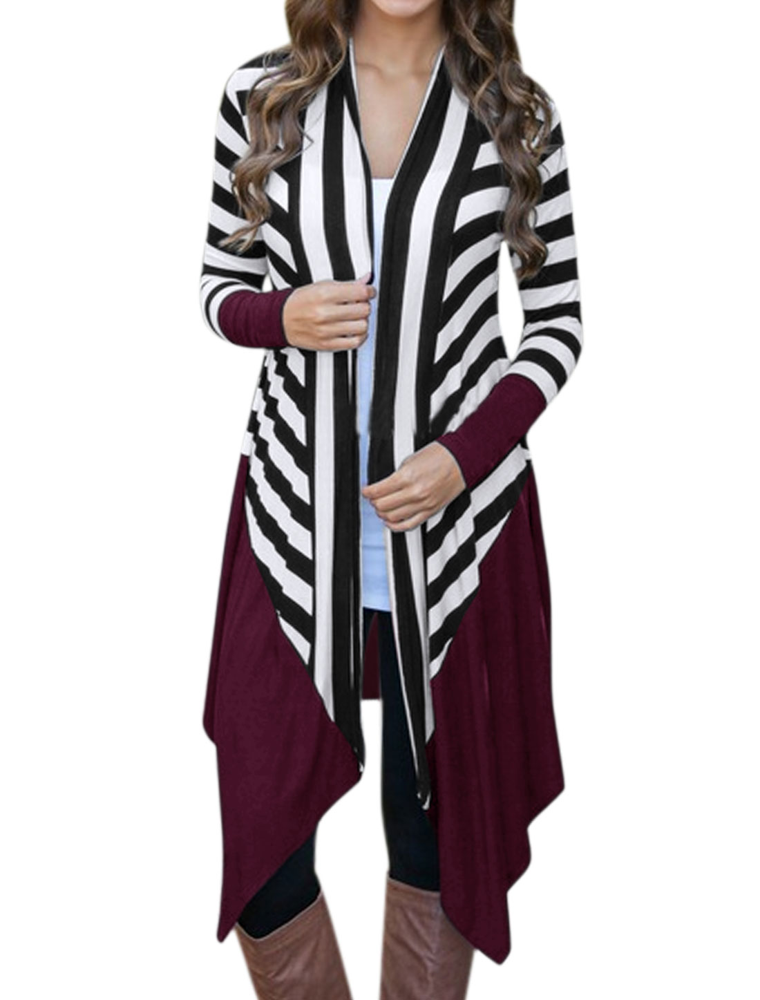 Women Buttonless Draped Front Paneled Stripes Tunic Cardigan Purple S