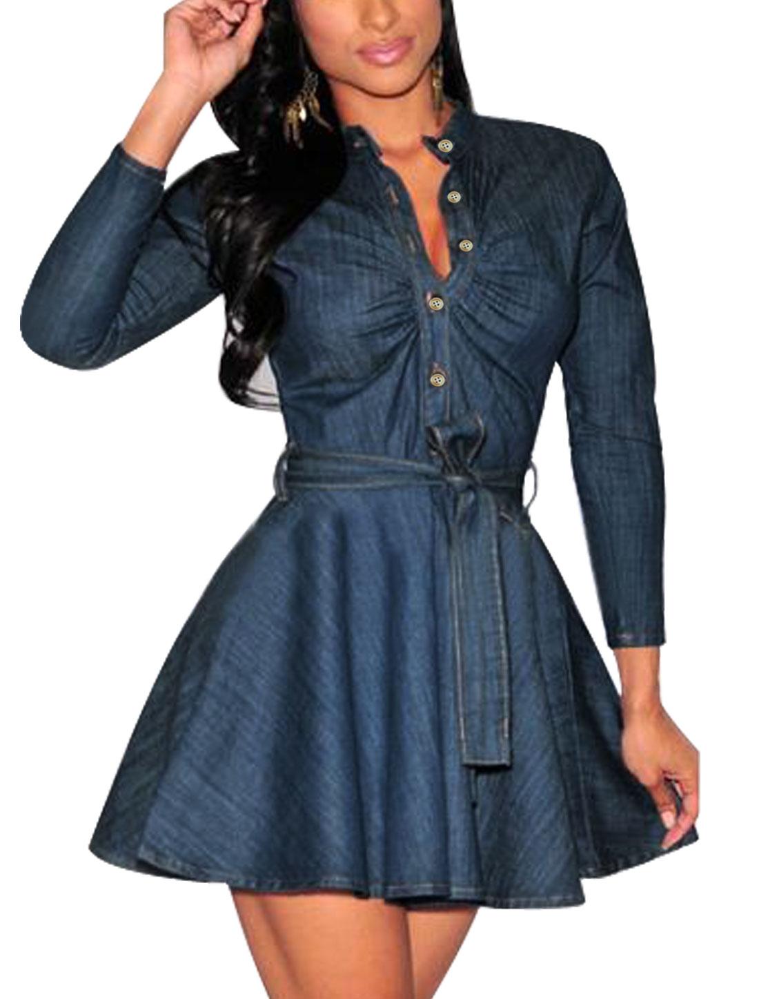 Women Ruched Front Self Tie Belt Half Placket Shirt Dress Blue M