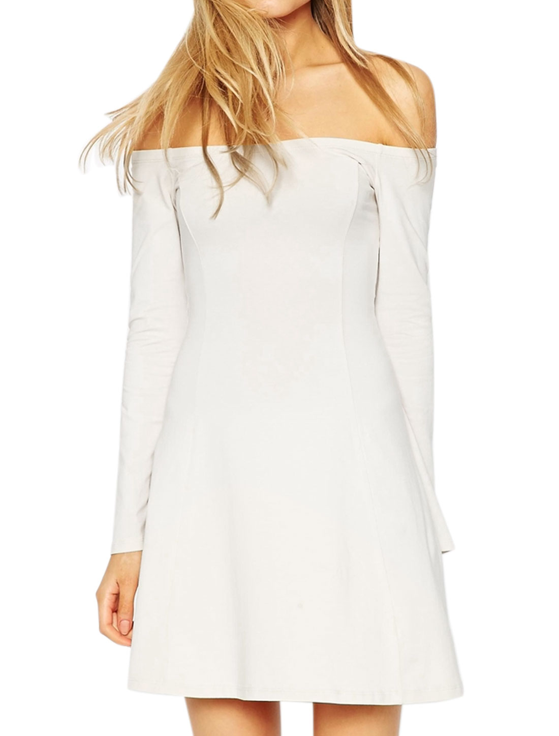 Women Off the Shoulder Long Sleeves Fit and Flare Dress White L