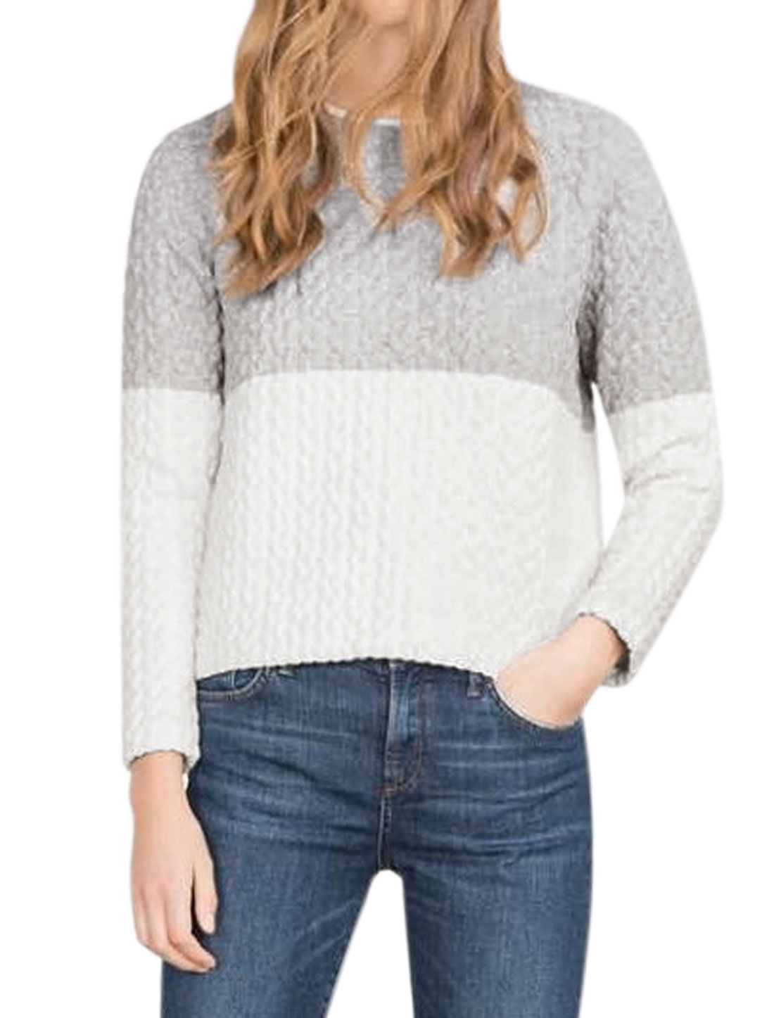 Women Raglan Sleeves Contrast Color Textured Sweatshirt Gray M