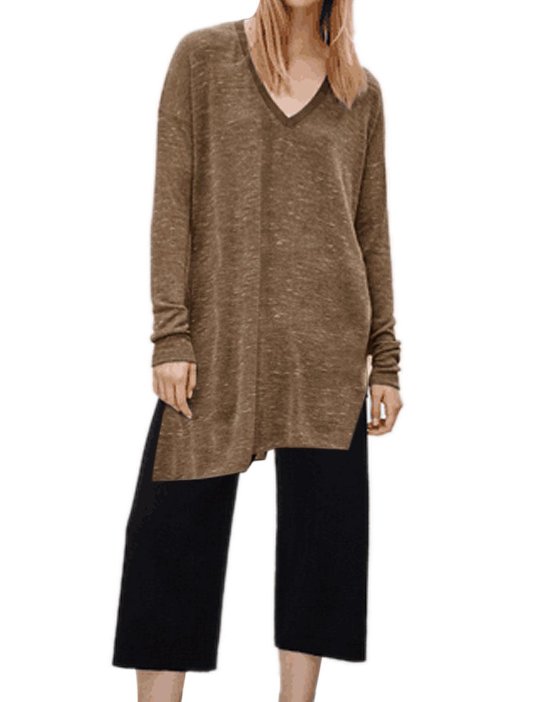Women V Neck Drop Shoulder Split Sides Loose Tunic Top Gray XS