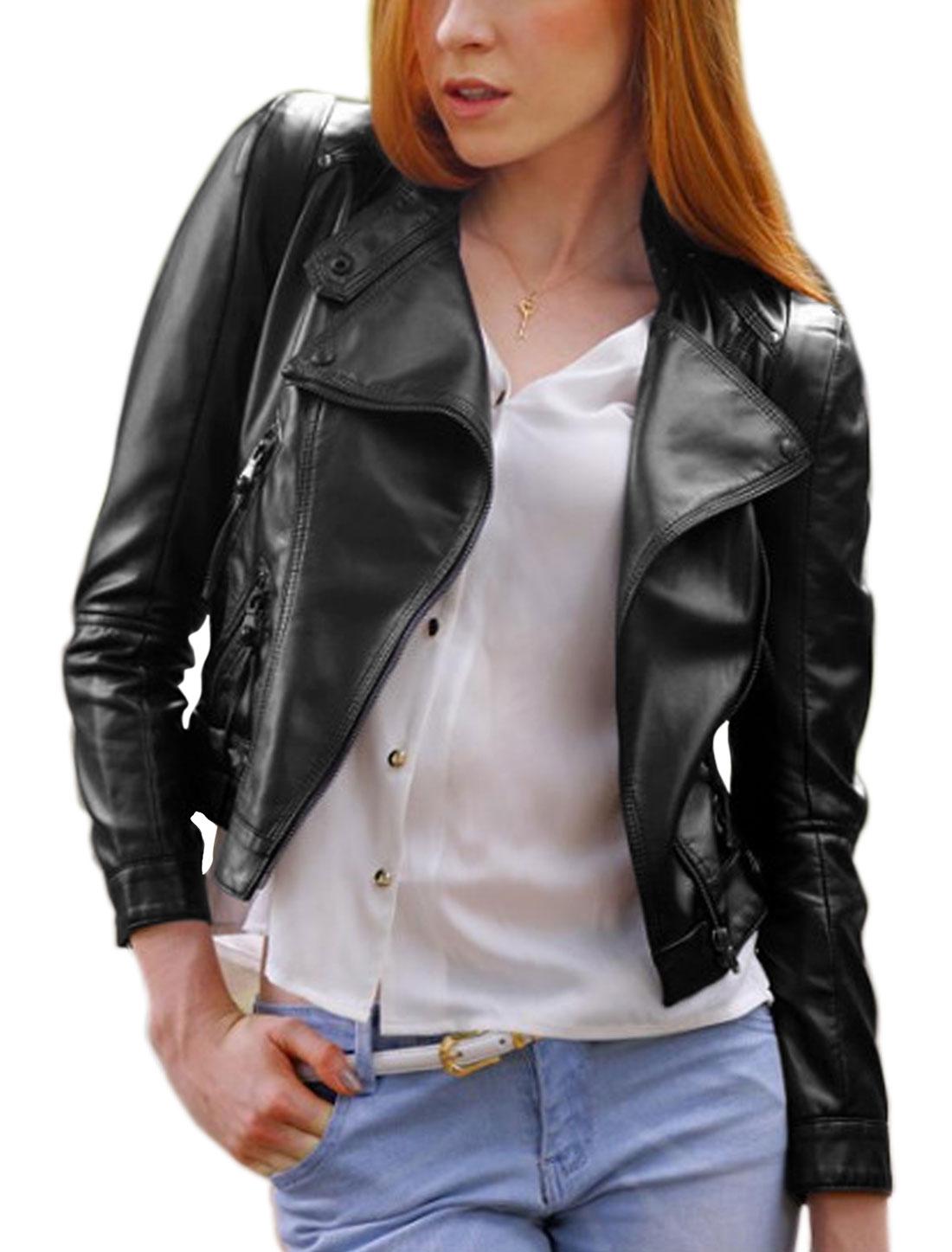 Women Inclined Zip Closure Turn Down Collar Slim Fit PU Jacket Black M