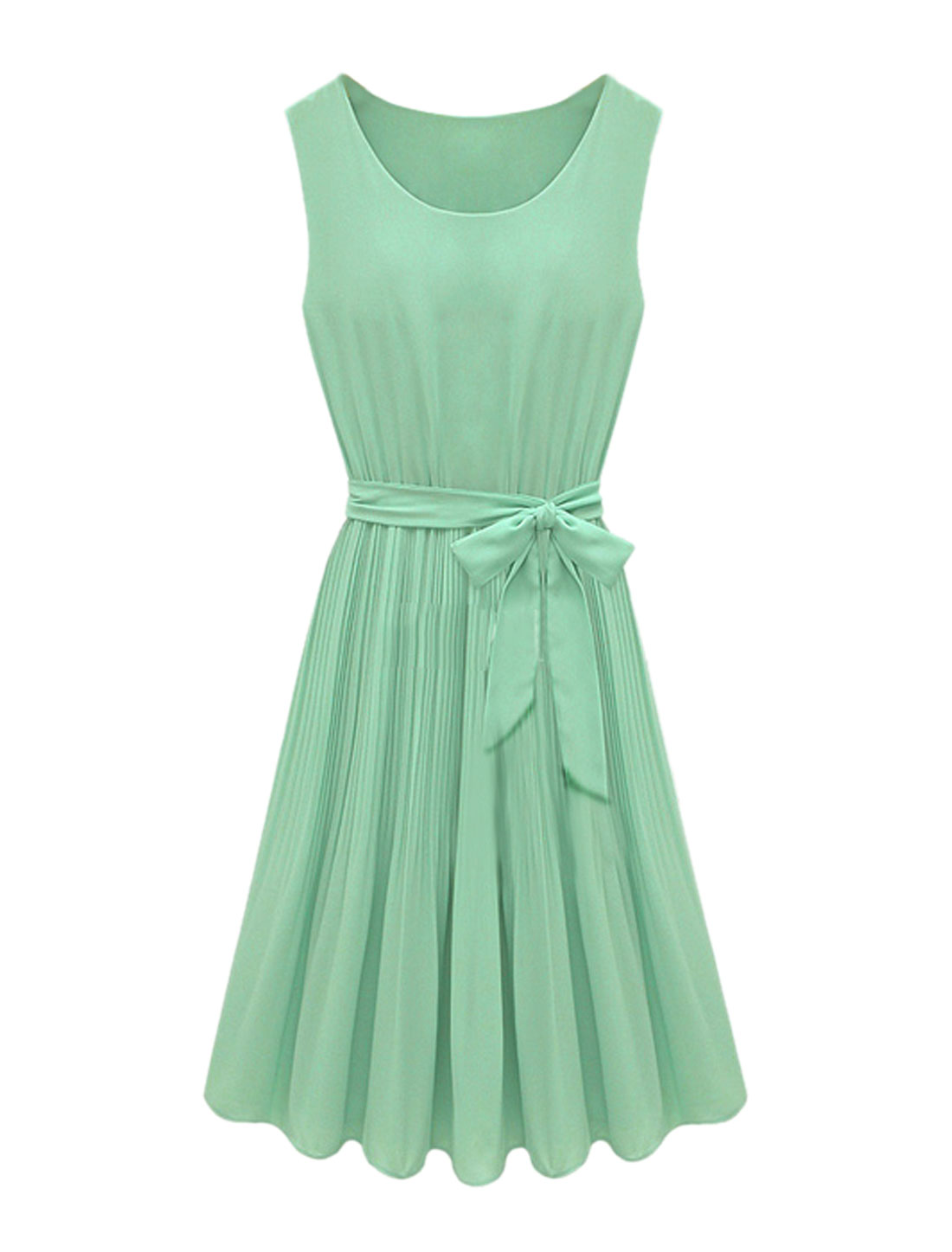 Women Elastic Waist Belted Chiffon Pleated Dress Green S