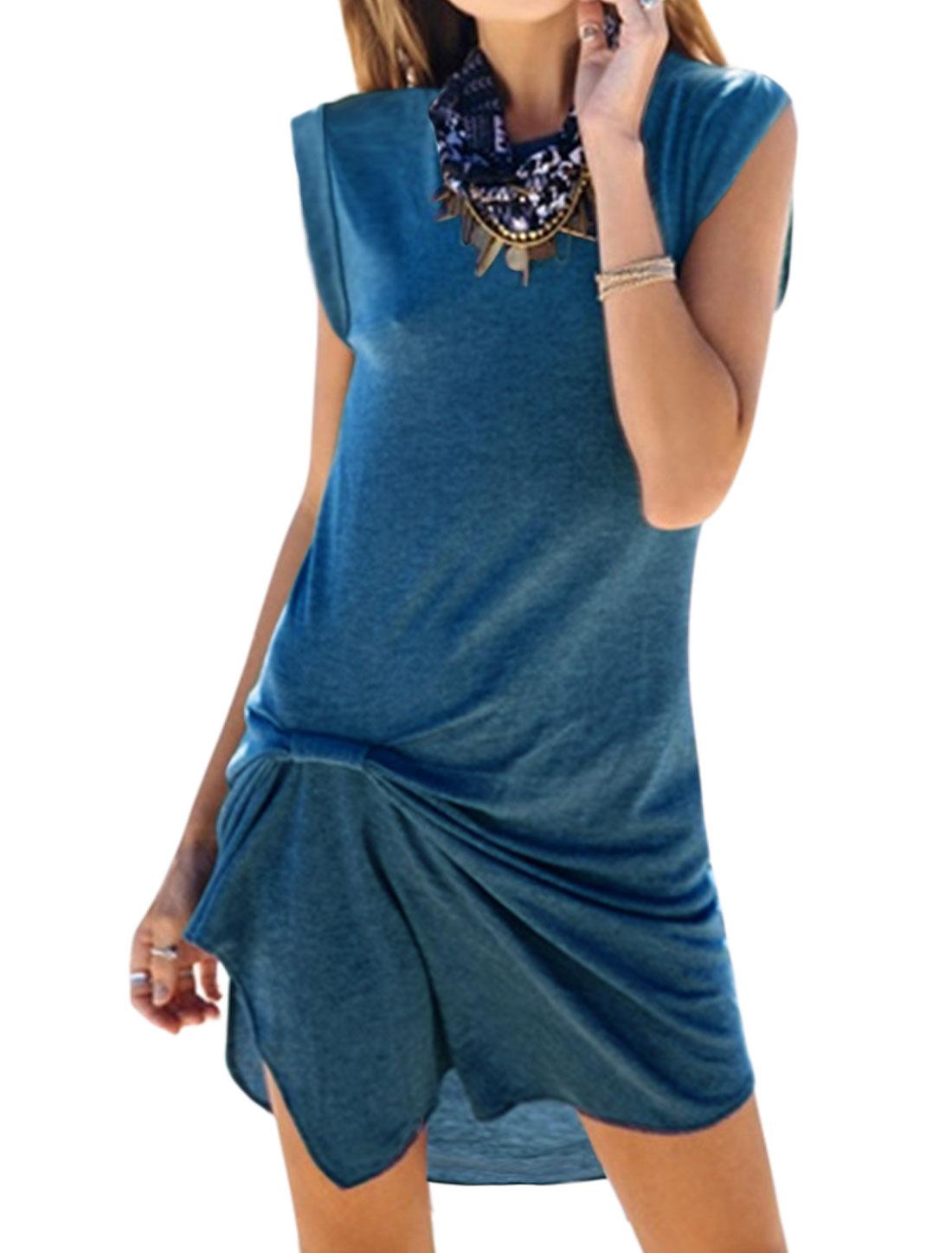 Women Crew Neck Knot Design Asymmetric Hem Tunic Top Blue M