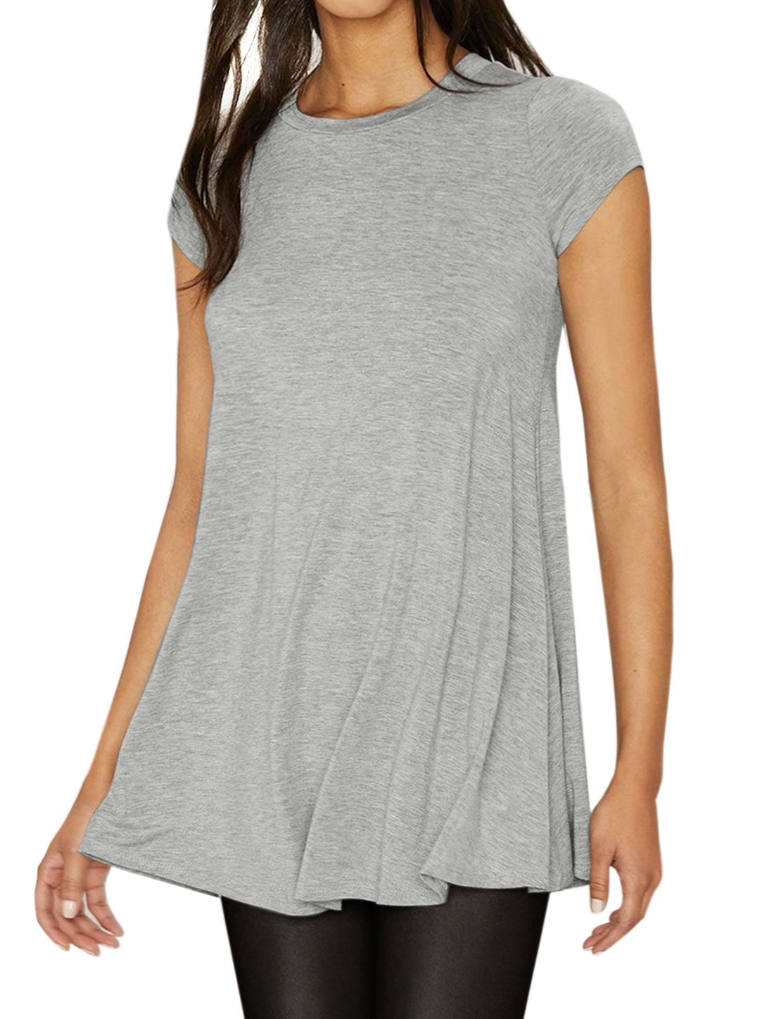 Women Crew Neck Short Sleeves Flare Hem Tunic Tee Gray S
