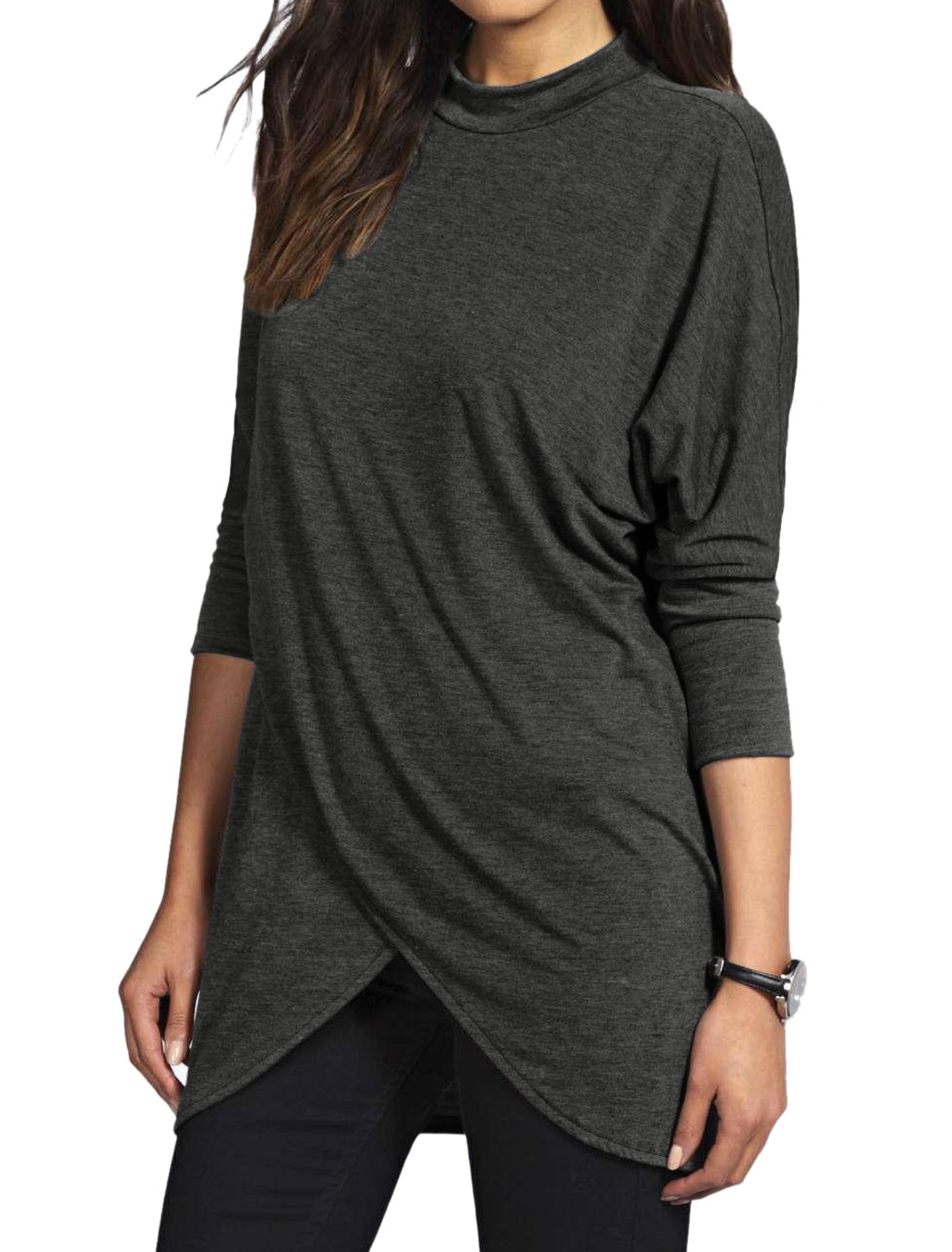 Women Mock Neck Tulip Front Batwing Sleeves Tunic Top Gray L