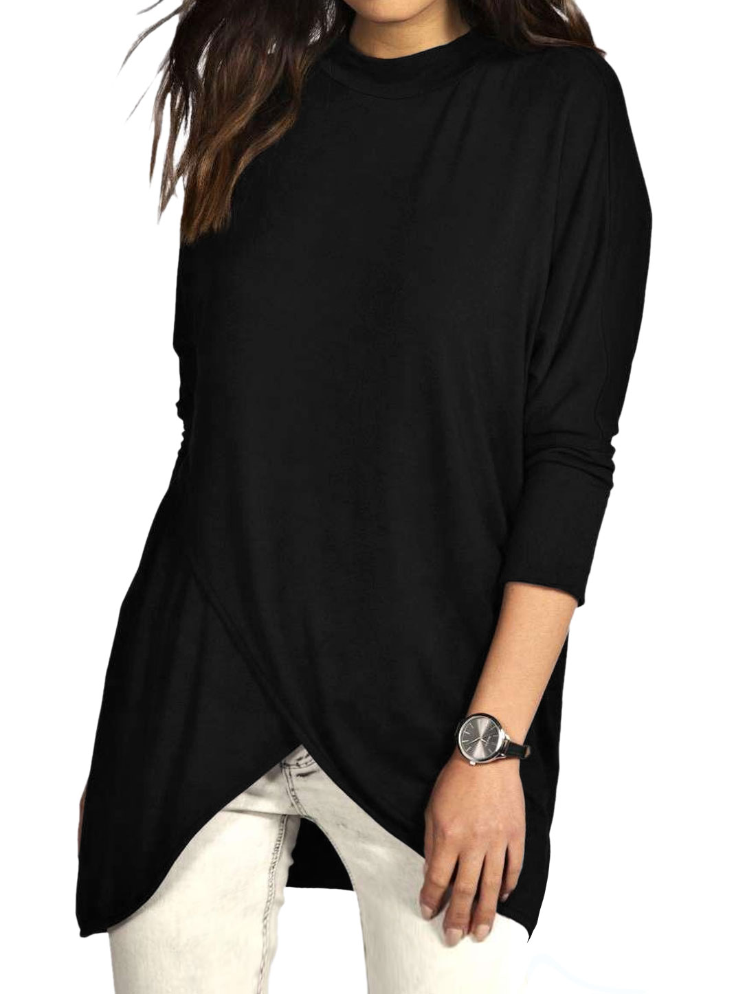 Women Mock Neck Tulip Front Batwing Sleeves Tunic Top Black L