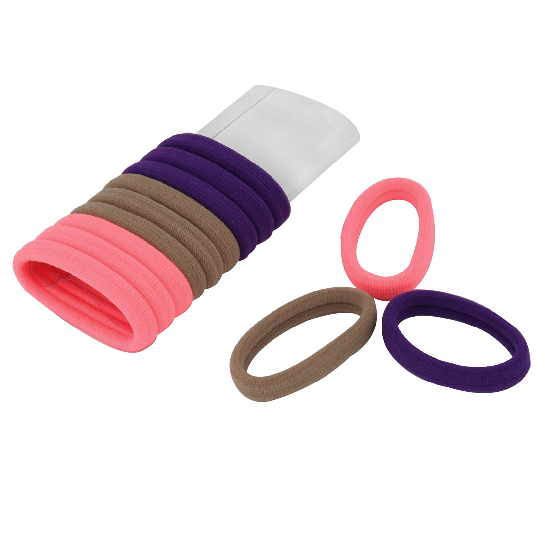 Lady Rubber Hairstyle Elastic Ponytail Holders Hair Bands Tie Assorted Color 12 Pcs