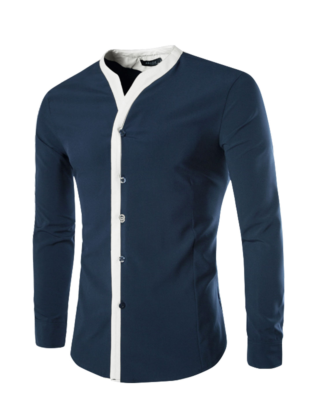Men Long Sleeves V Neck Contrast Color Button Closure Shirt Blue M