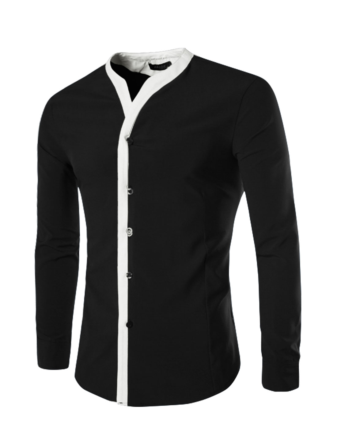 Men Long Sleeves V Neck Contrast Color Button Closure Shirt Black M