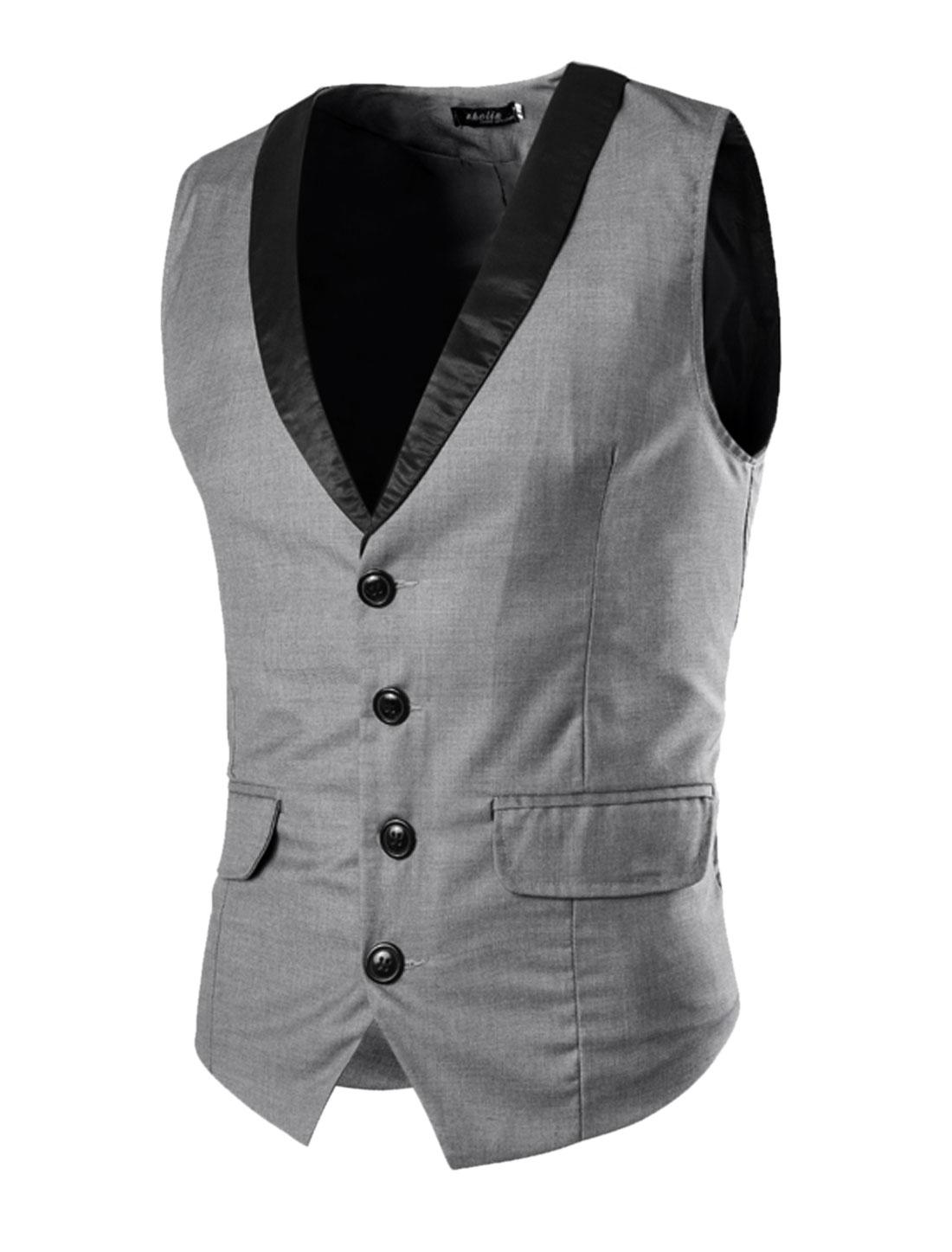Men Flap Pockets Shawl Lapel Single Breasted Slim Fit Vest Gray S