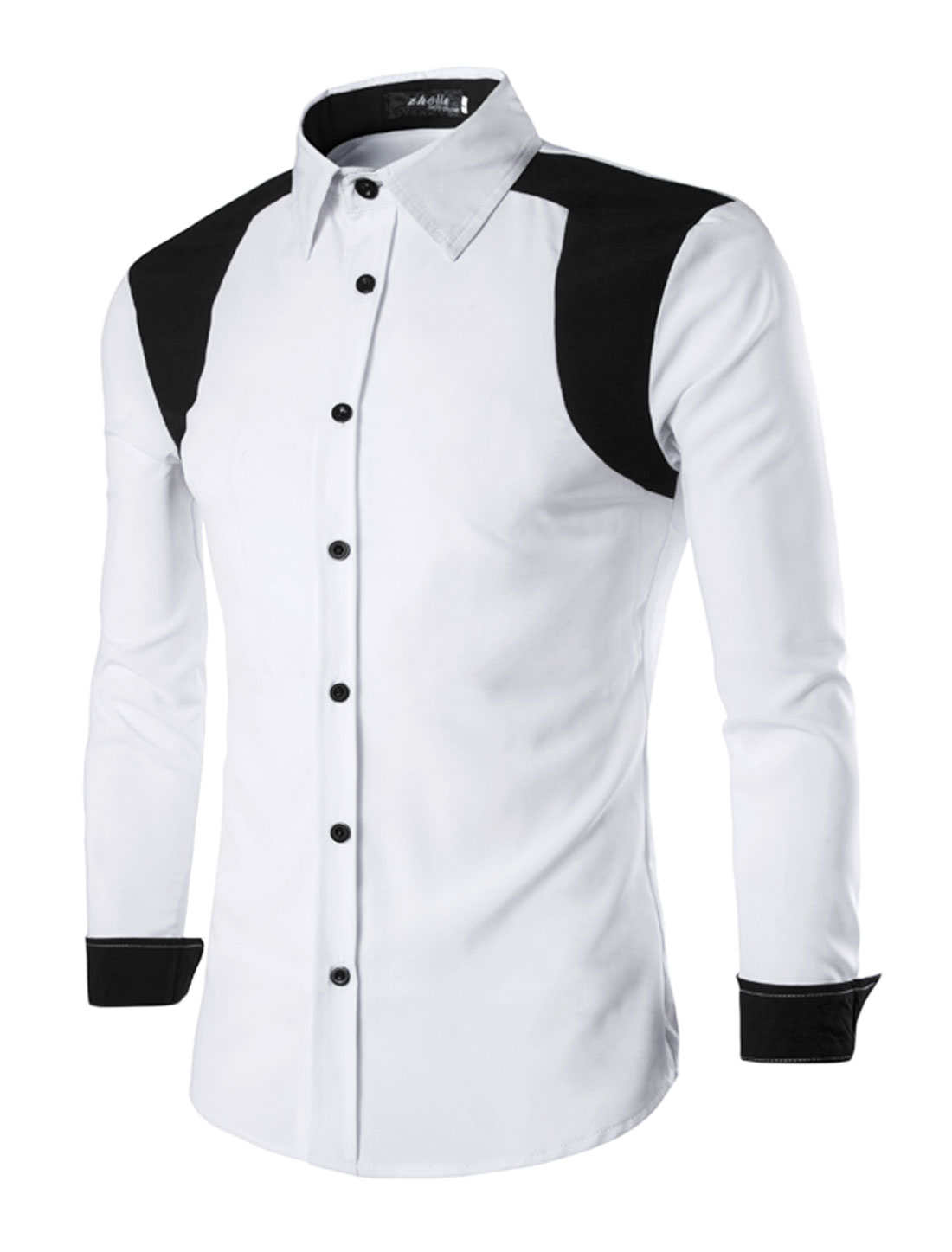 Men Long Sleeves Point Collar Contrast Color Shirt White M