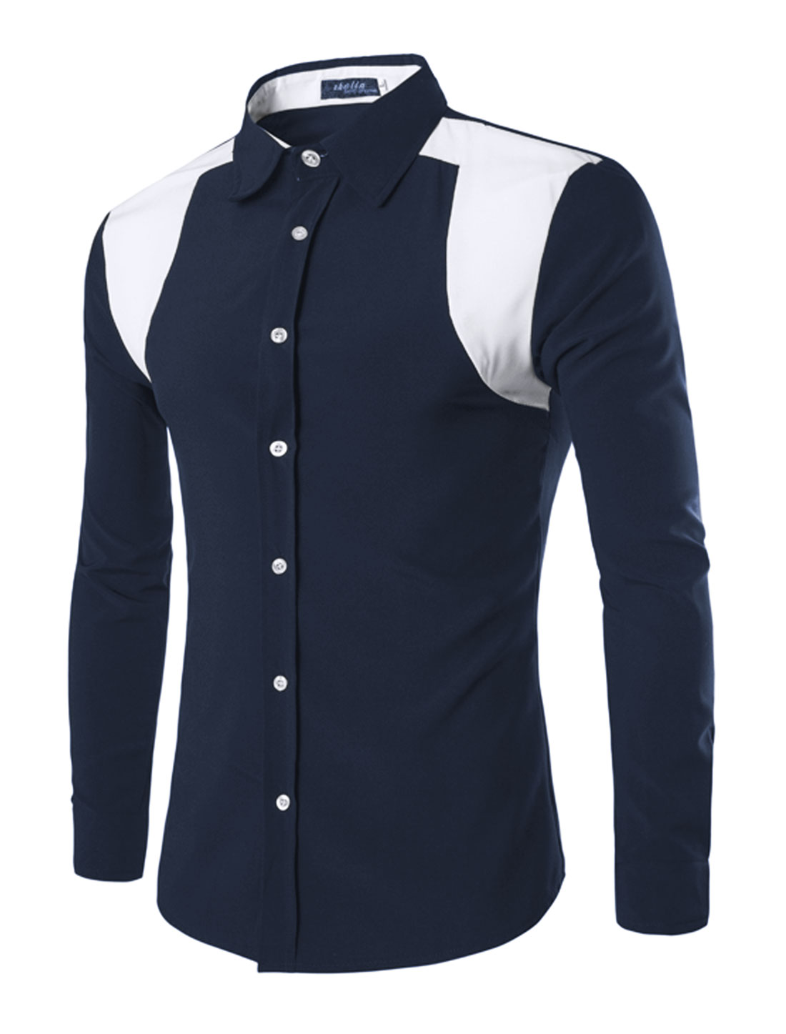 Men Long Sleeves Point Collar Contrast Color Shirt Blue M
