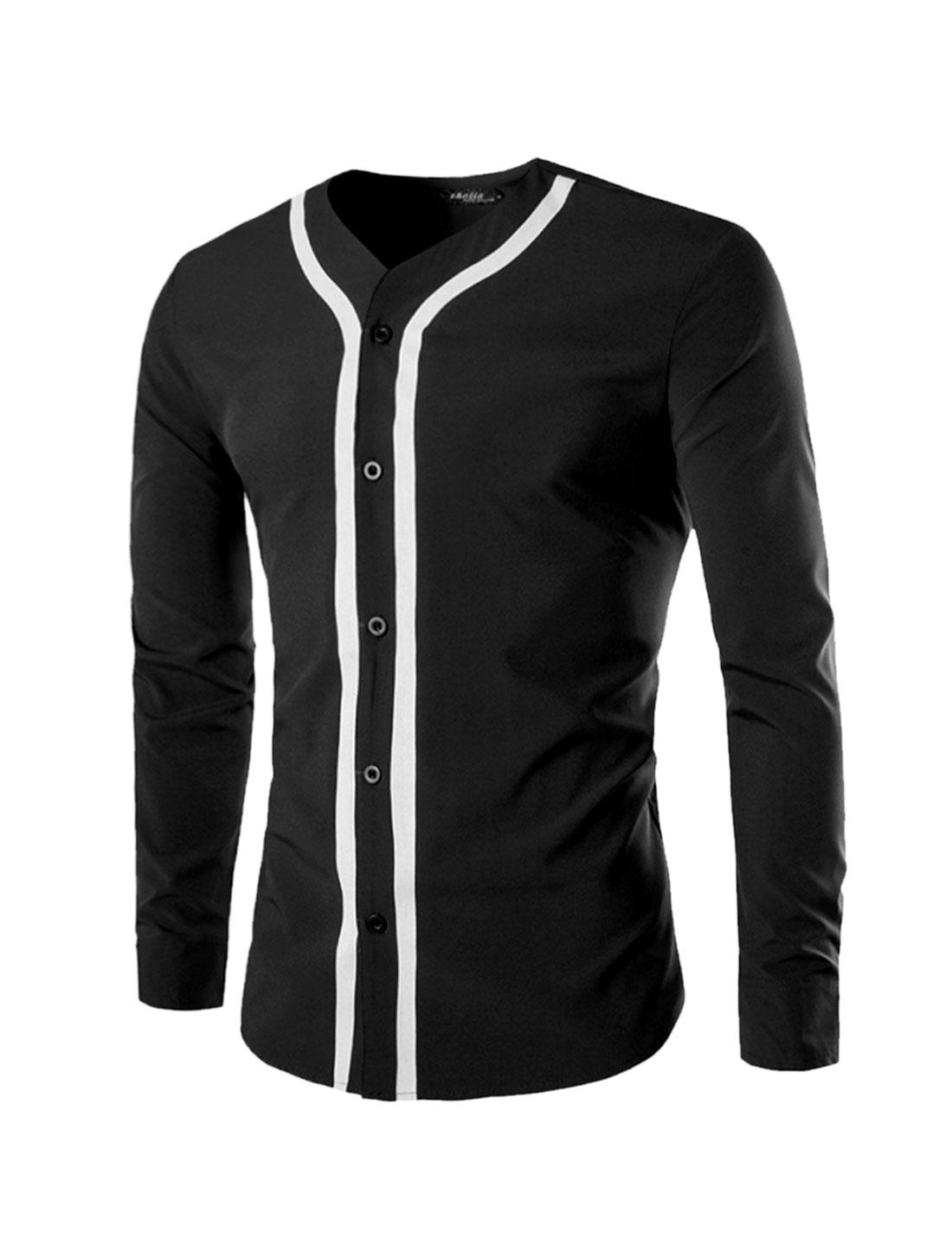 Men Long Sleeves Contrast Color Button Front Casual Shirt Black M