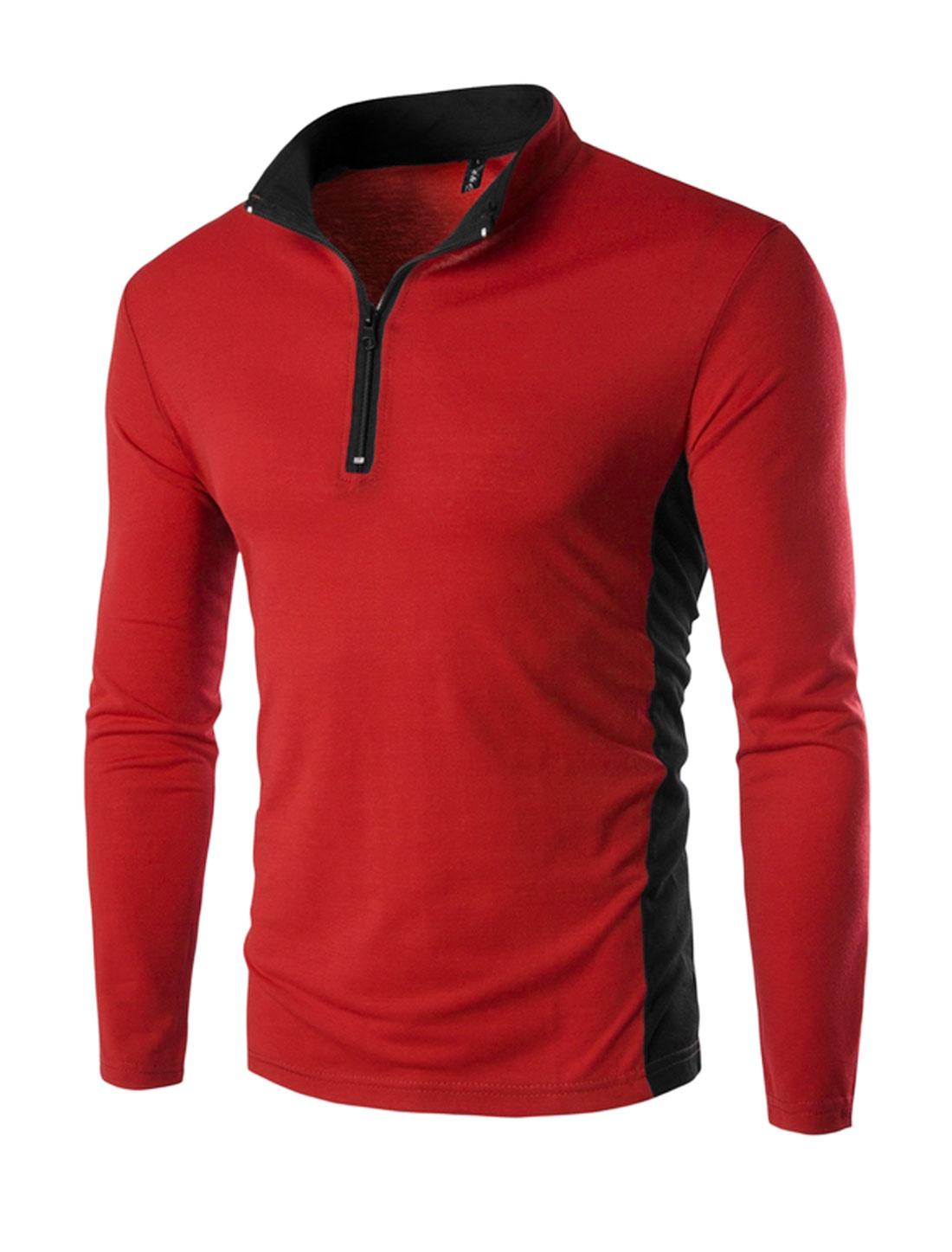 Men Stand Collar Zipper Upper Contrast Color Slim Fit T-Shirt Red M