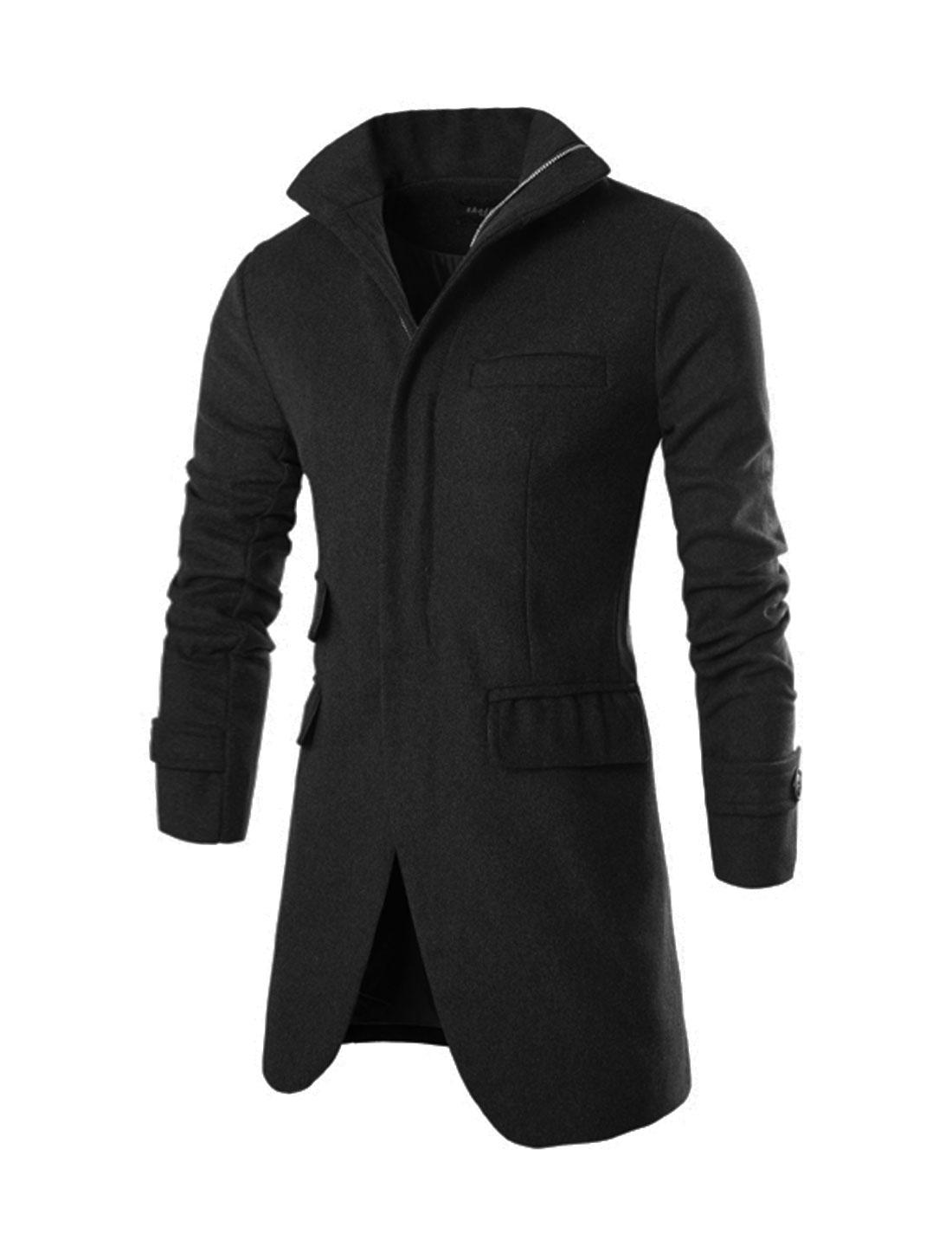 Men Hidden Placket Funnel Neck Tunic Worsted Coat Black M