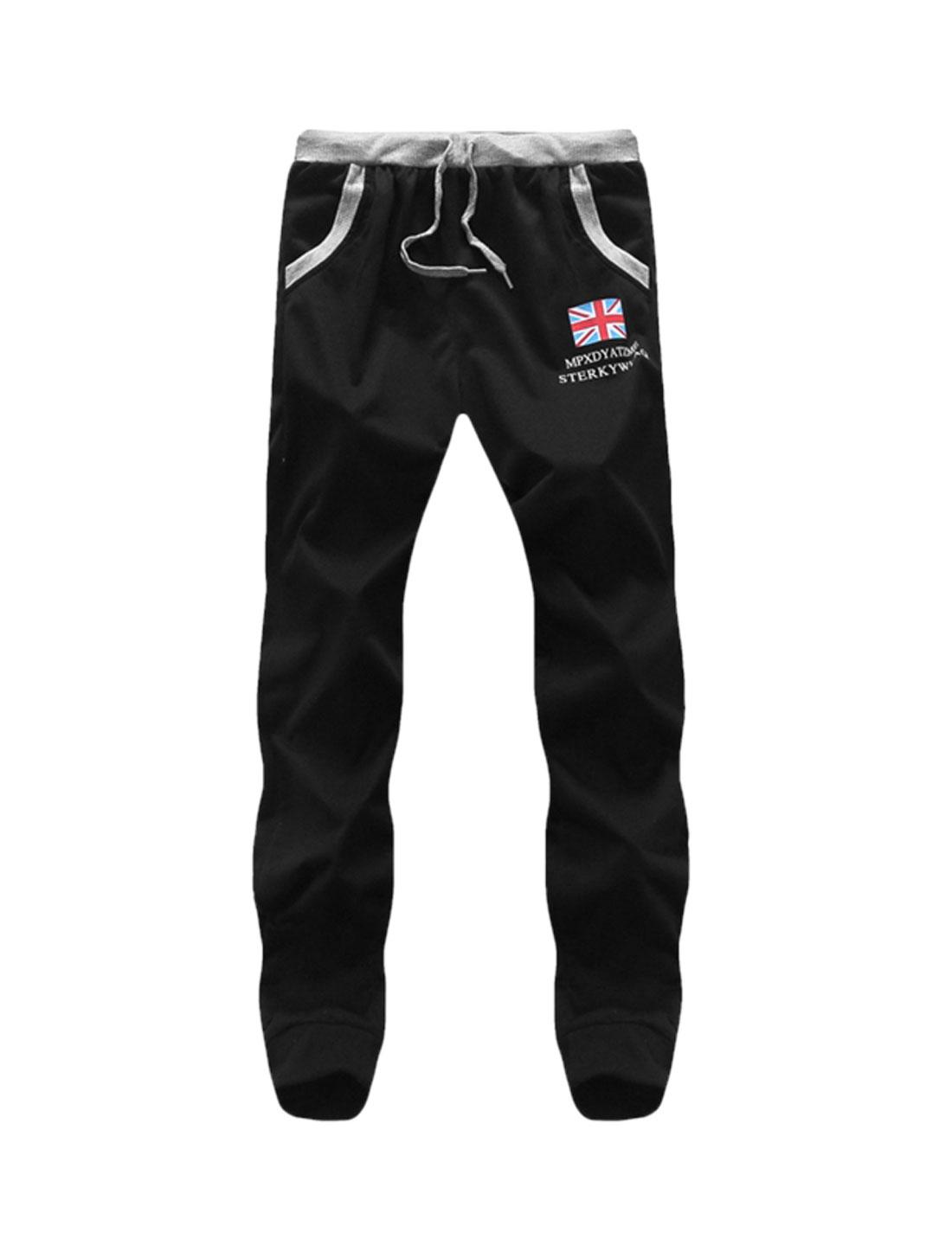 Men Flag Print Letters Drawstring Waist Sweatpants Black W30