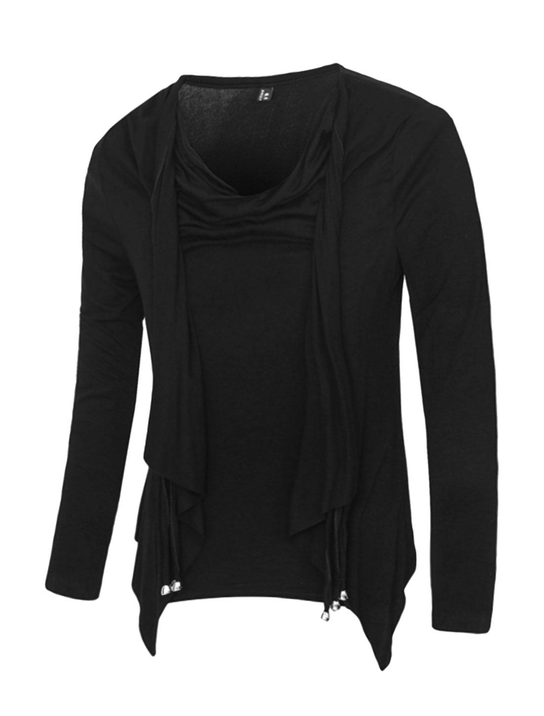 Men Cowl Neck Draped Layered Design Slim Fit T-Shirt Black M