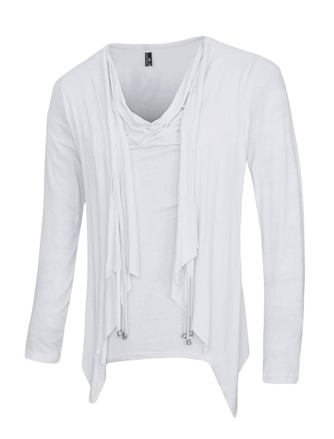 Men Cowl Neck Draped Layered Design Slim Fit T-Shirt White M