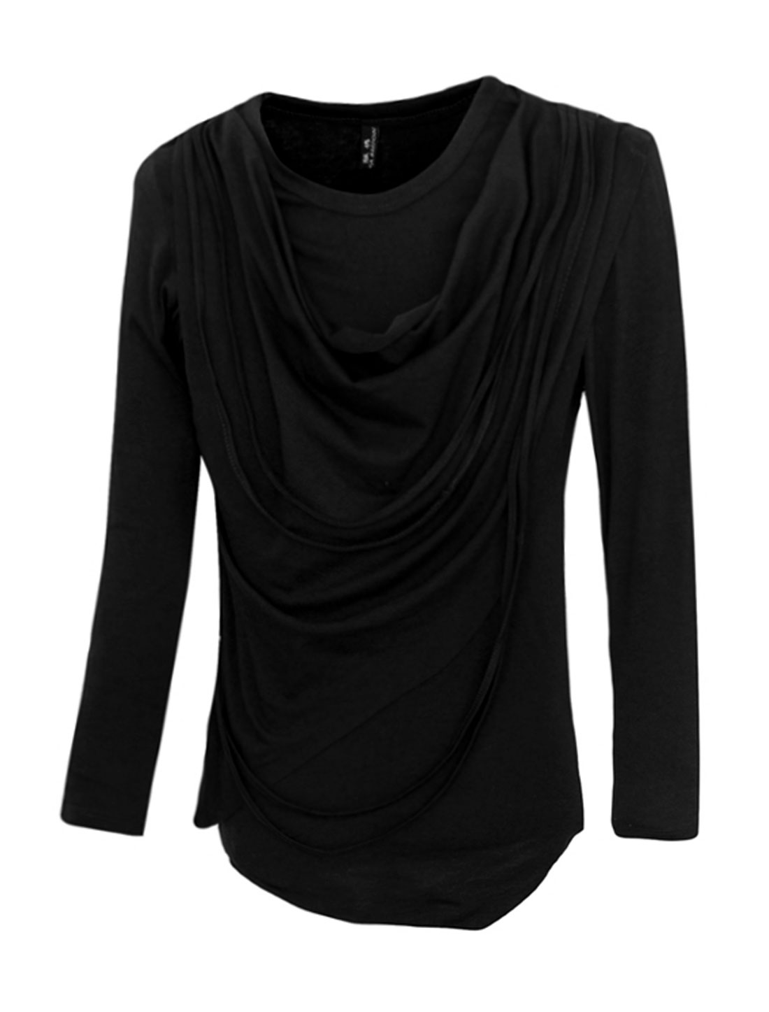 Men Crew Neck Tassels Cowl Design Slim Fit T-Shirt Black M