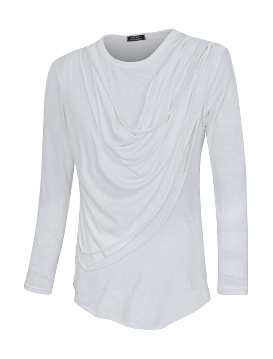 Men Crew Neck Tassels Cowl Design Slim Fit T-Shirt White M