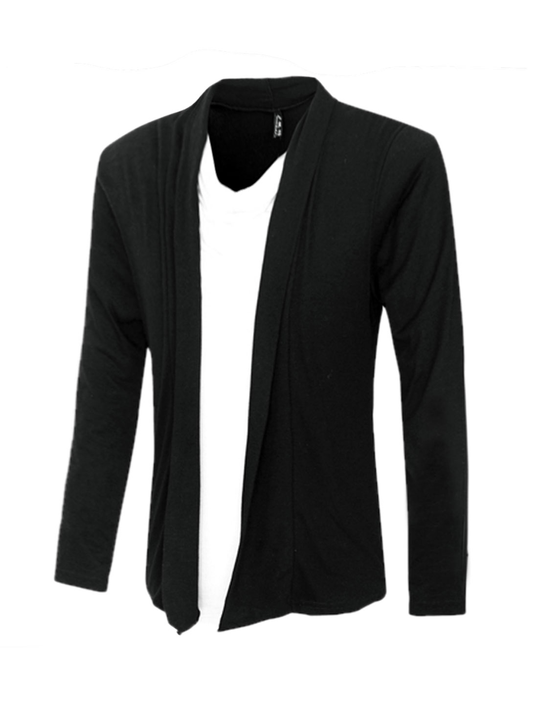 Men Long Sleeves Contrast Color Paneled Layered Top Black M