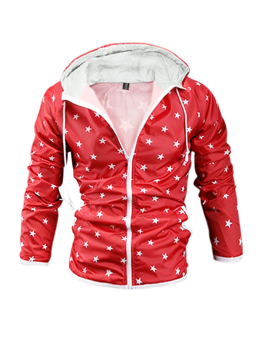 Men Drawstring Hood Waterproof Stars Print Jacket Red S