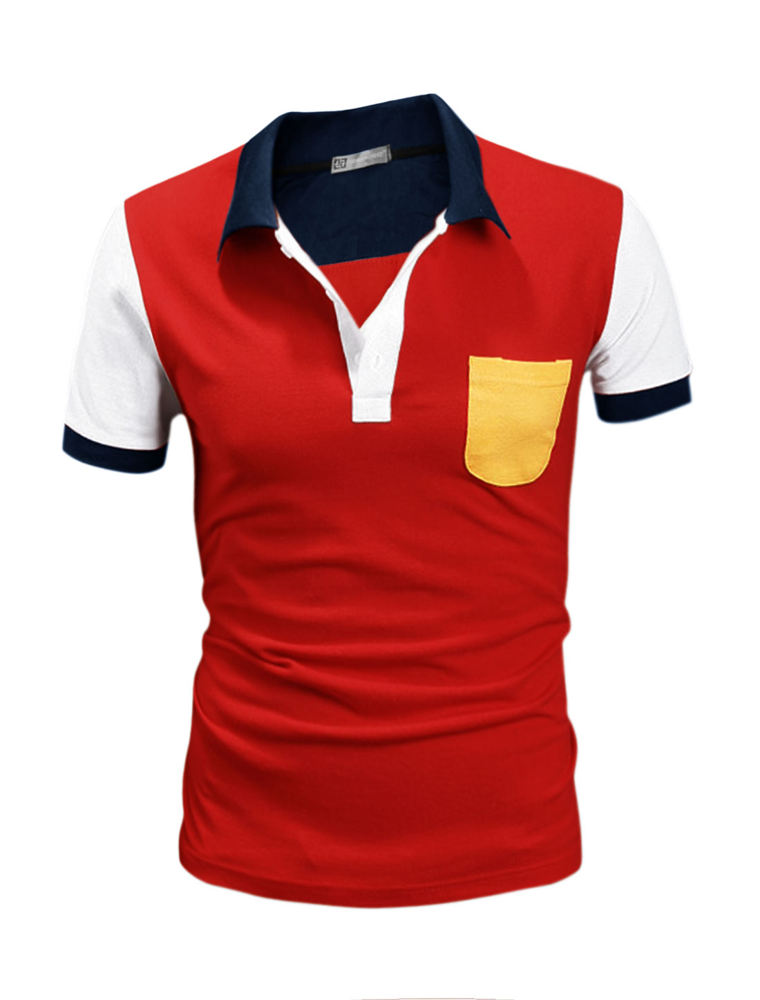 Men Short Sleeves Button Upper Color Block Polo Shirt Red M