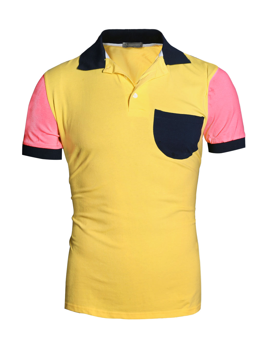 Men Short Sleeve Chest Pocket Contrast Color Polo Shirt Yellow M