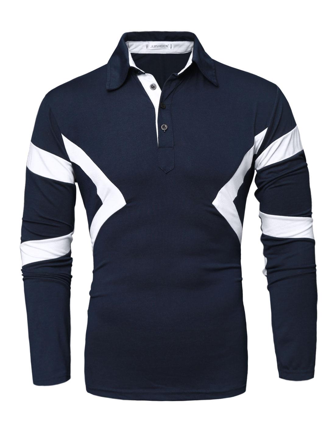 Men Slim Fit Contrast Color Geometric Print Polo Shirt Blue M
