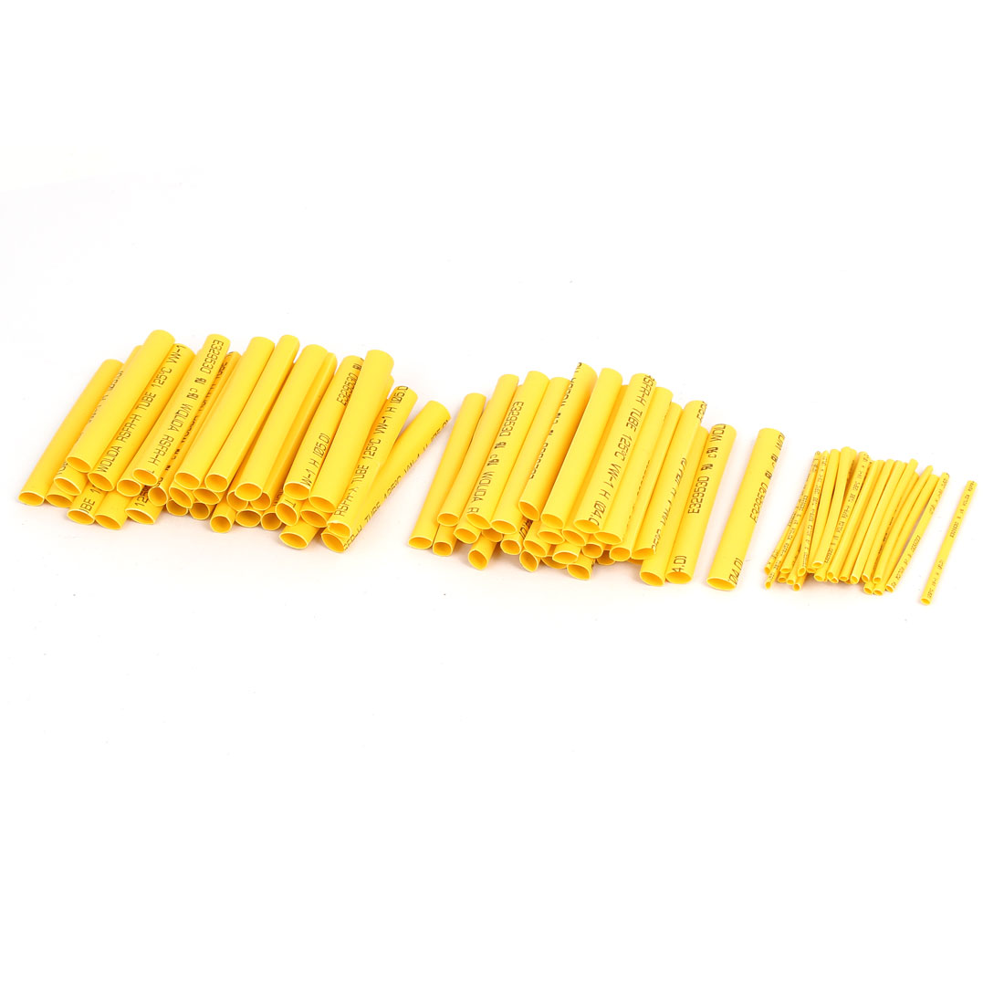 Insulated Heat Shrink Tube Sleeving Wrap Wire Kit 3 Sizes Yellow 90pcs