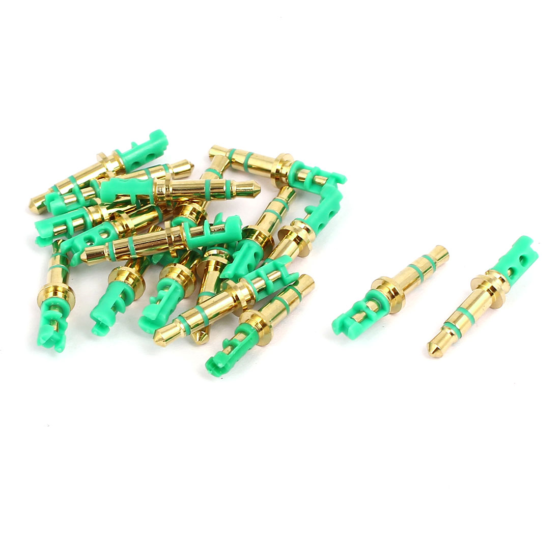 3.5mm Male Earphone Headphone Stereo Audio Jack Gold Tone Green 18pcs