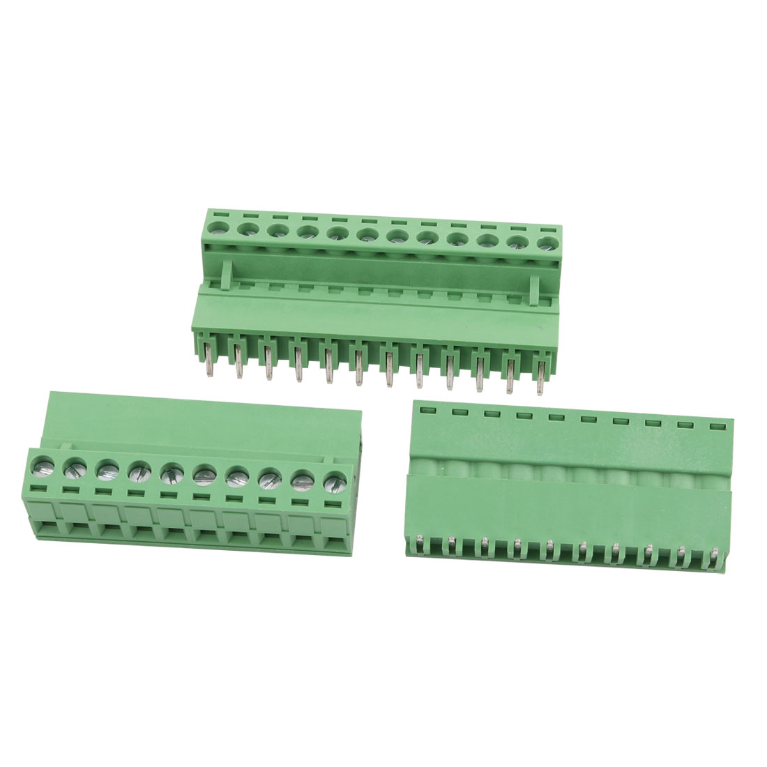 3 Sets 300V 10A 5.08mm Pitch 12P Male Female PCB Screw Terminal Block Connector