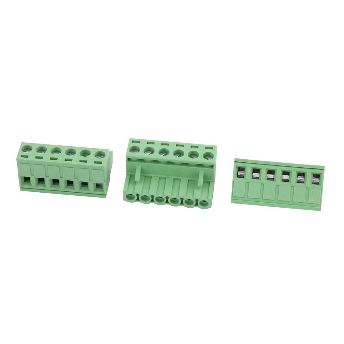 3pcs 300V 10A 5.08mm Pitch 6P Male PCB Screw Terminal Block Connector Green
