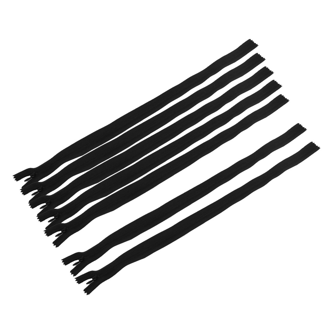Home Tailor Nylon Dress Sewing Tool Invisible Smooth Zipper Black 46cm Length 7 Pcs